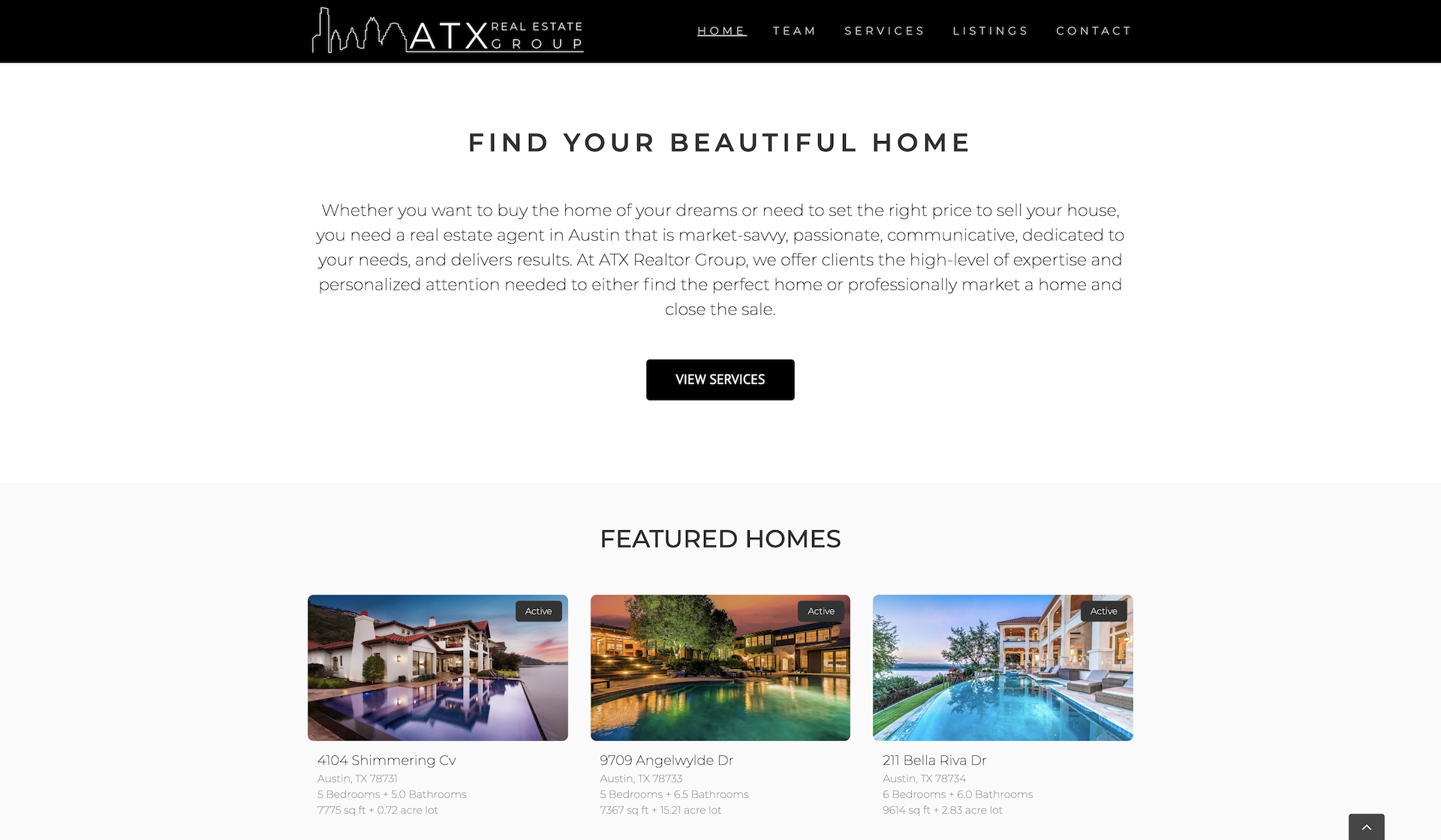 ATX Real Estate Group Website Example